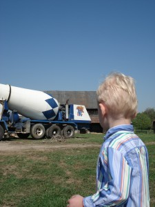 Elliot and the concrete truck